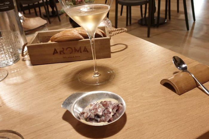 Trevisano scottato con vino rosso e scamorza affumicata - Ristorante Aroma - Brescia