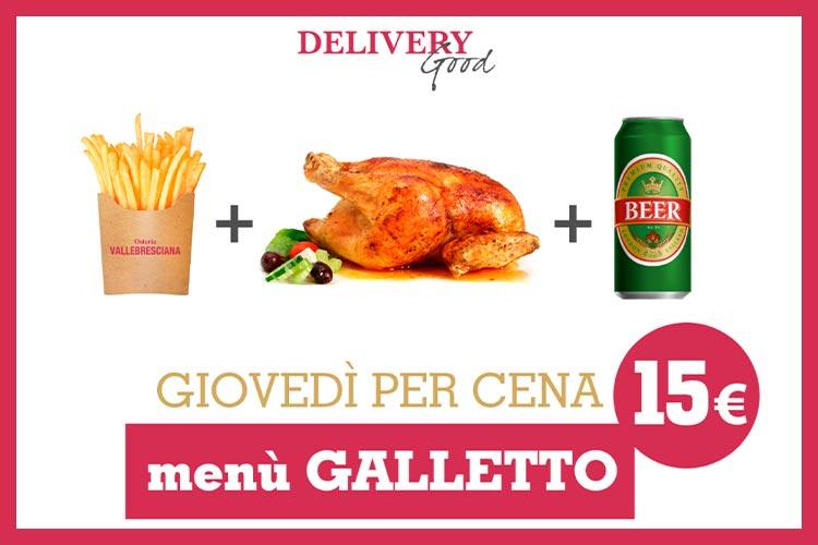 Menu delivery galletto Osteria Valle Bresciana