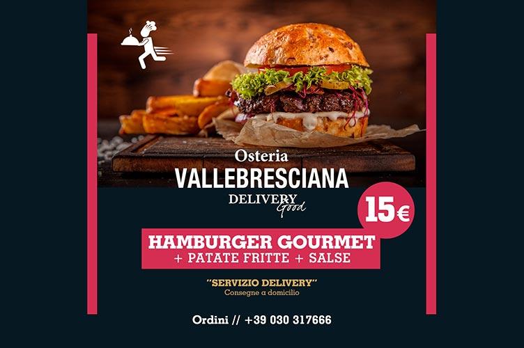 Menù Hamburger delivery dell'Osteria Valle Bresciana