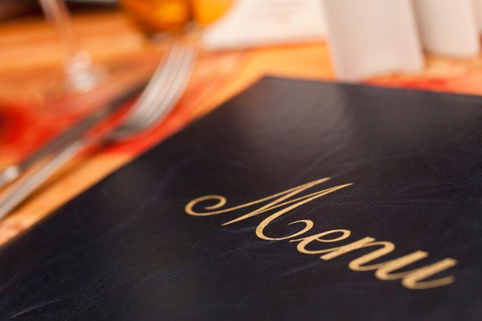 Menu sul tavolo